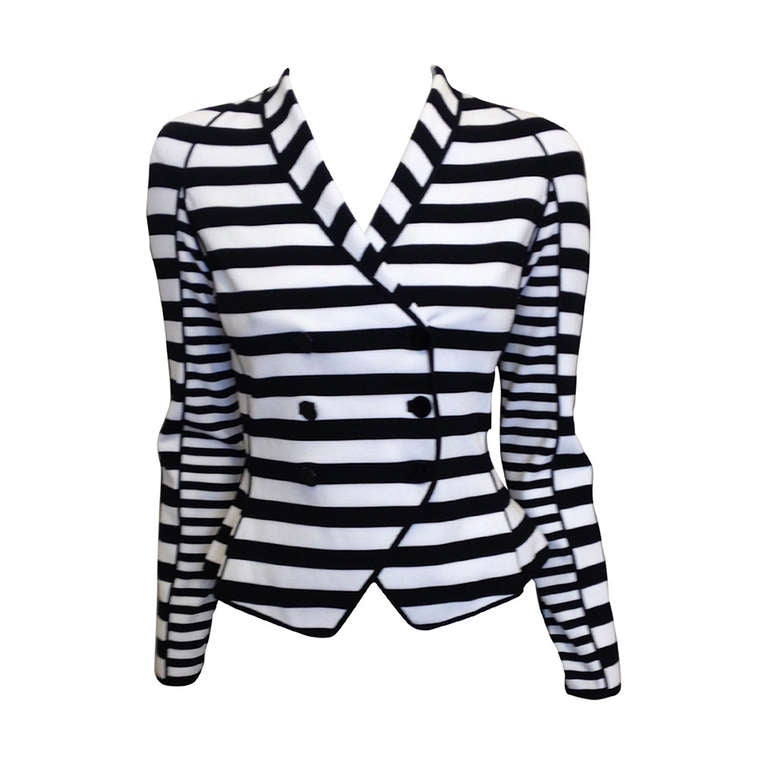 Armani Black and White Striped Jacket 1