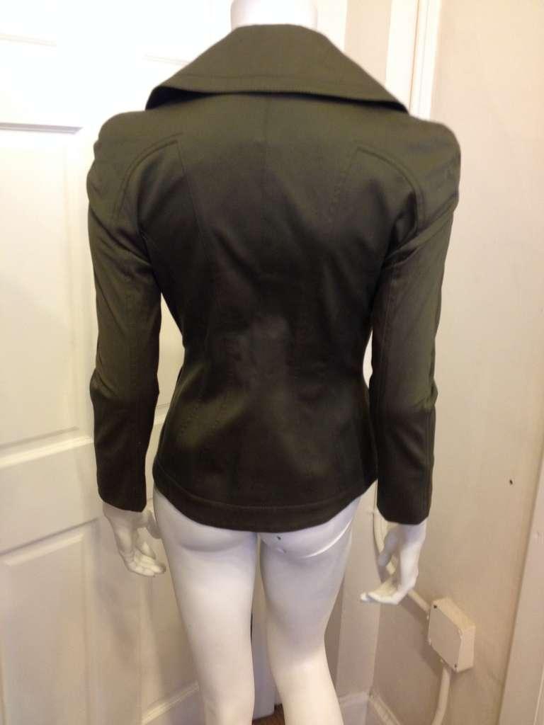 Black Tom Ford Olive Fitted Blazer For Sale