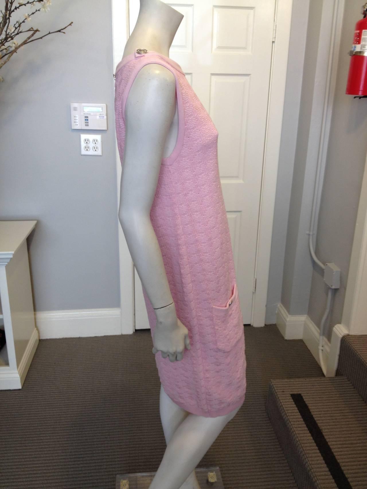 Chanel Pink Knit Sleeveless Dress 2