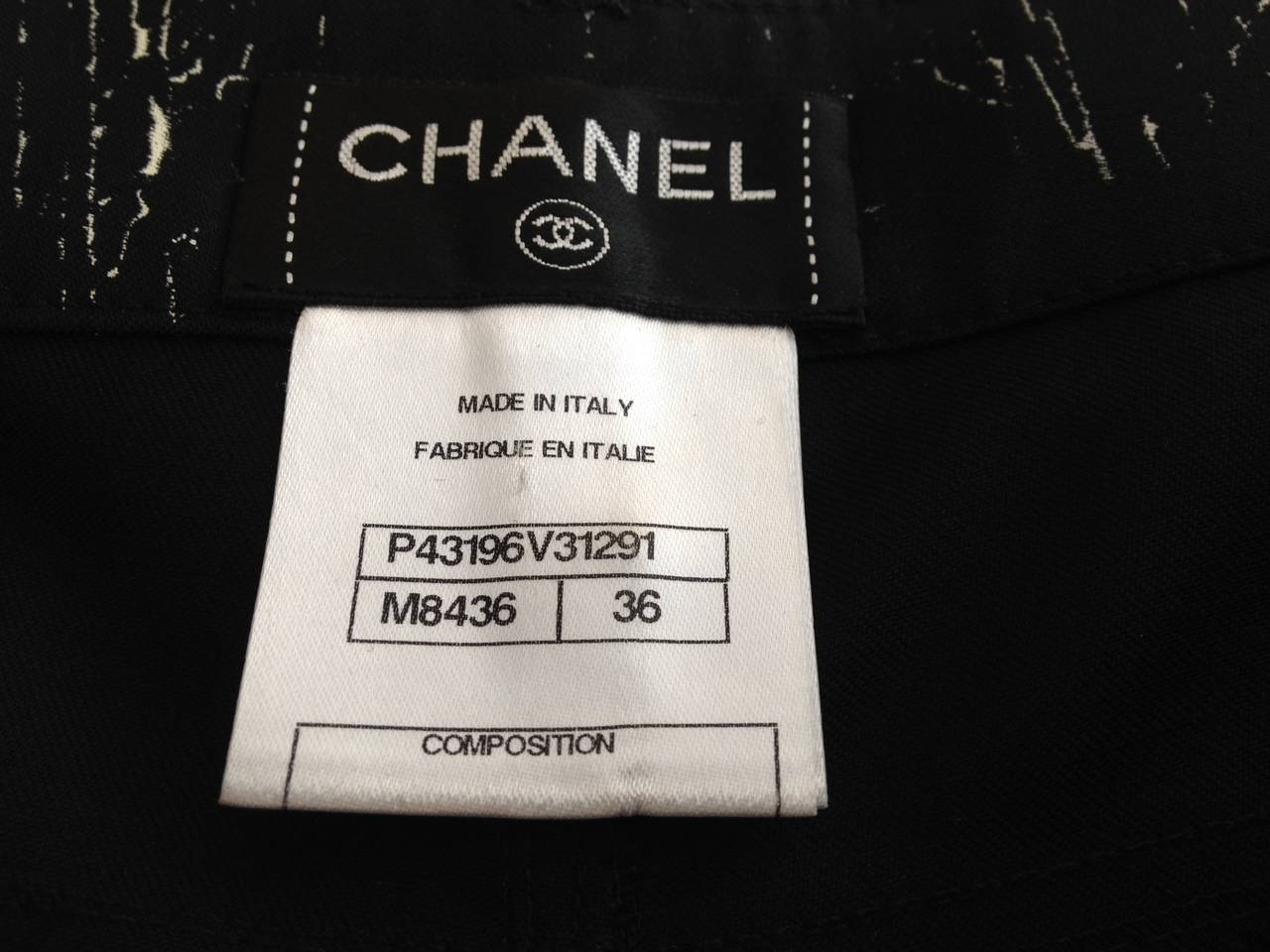 Women's Chanel Black Pants with White Pattern For Sale