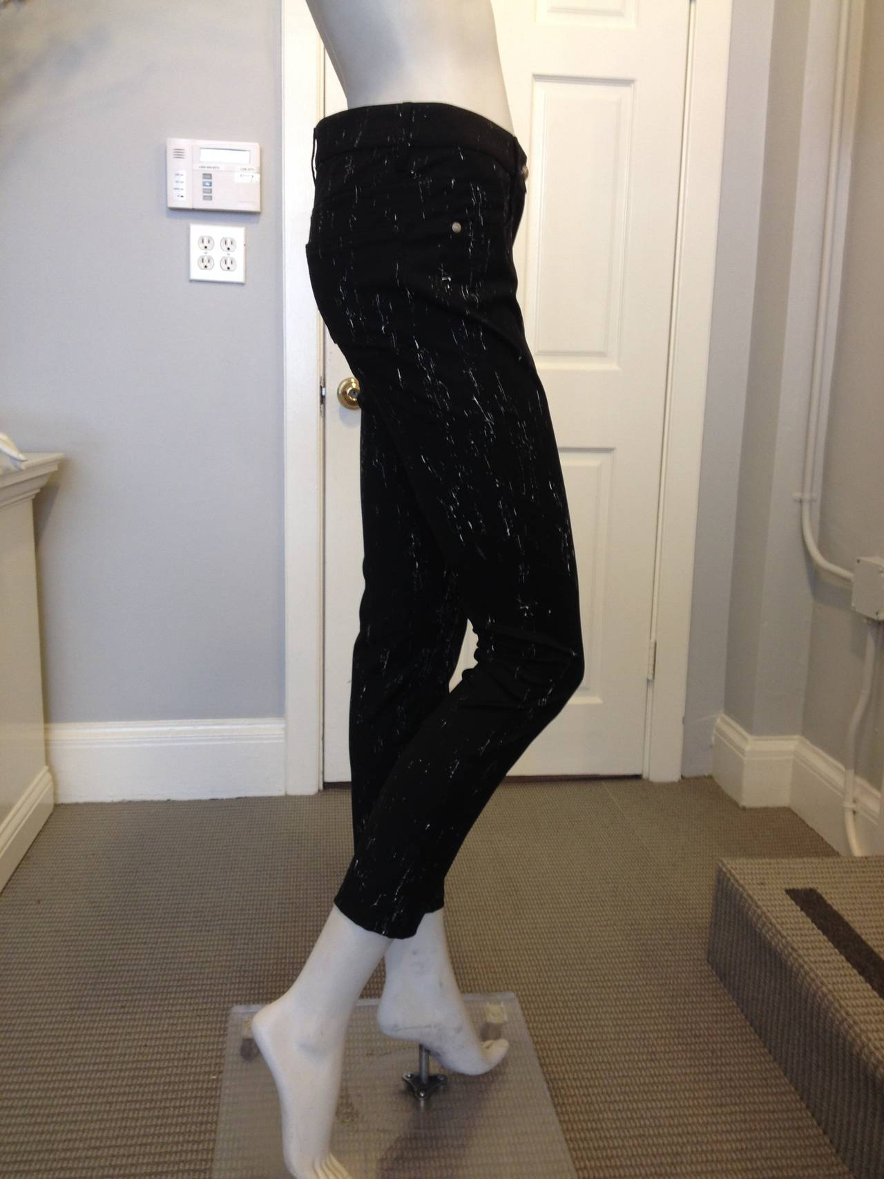 Chanel Black Pants with White Pattern For Sale 2