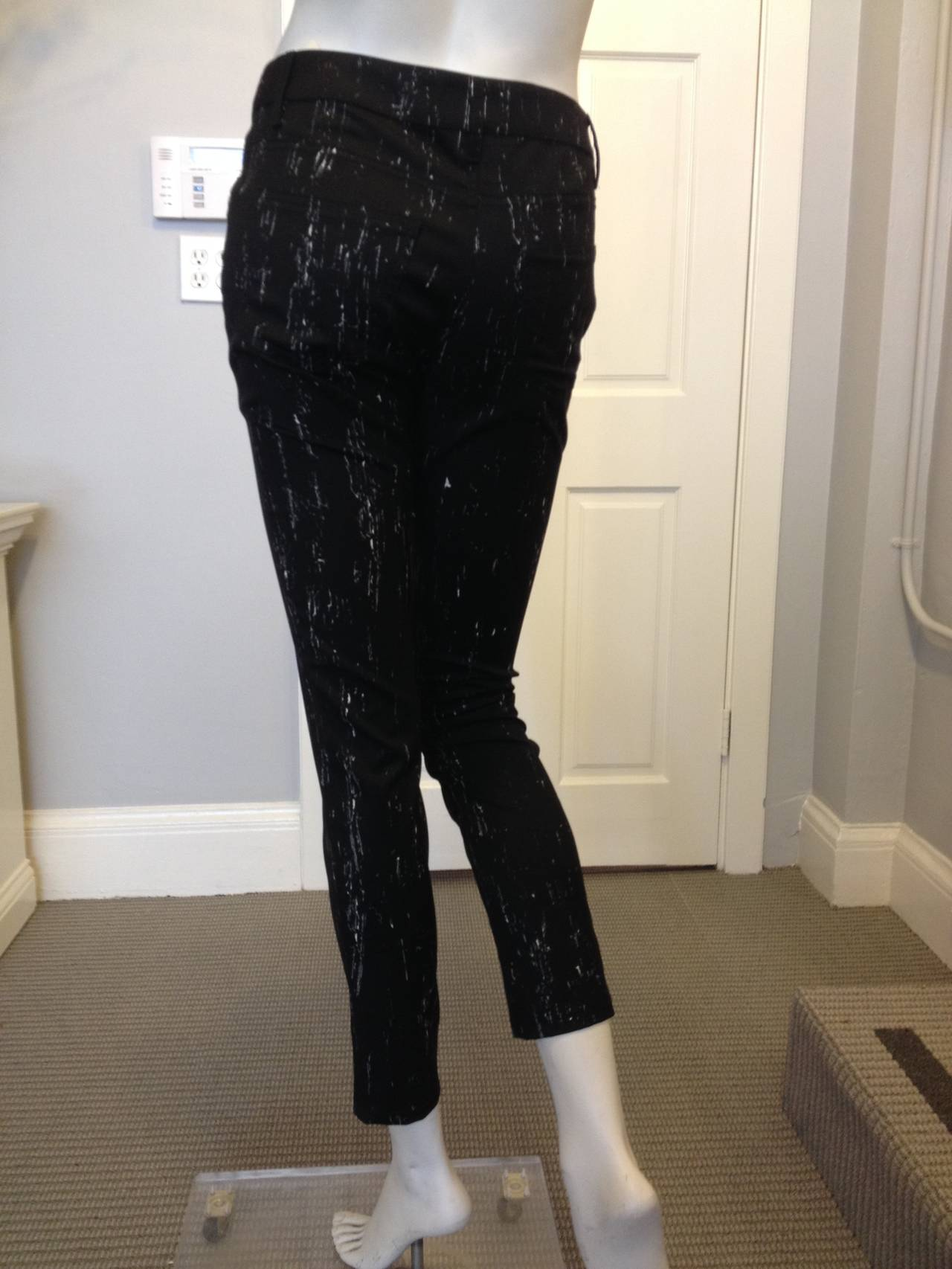 Chanel Black Pants with White Pattern In Excellent Condition For Sale In San Francisco, CA