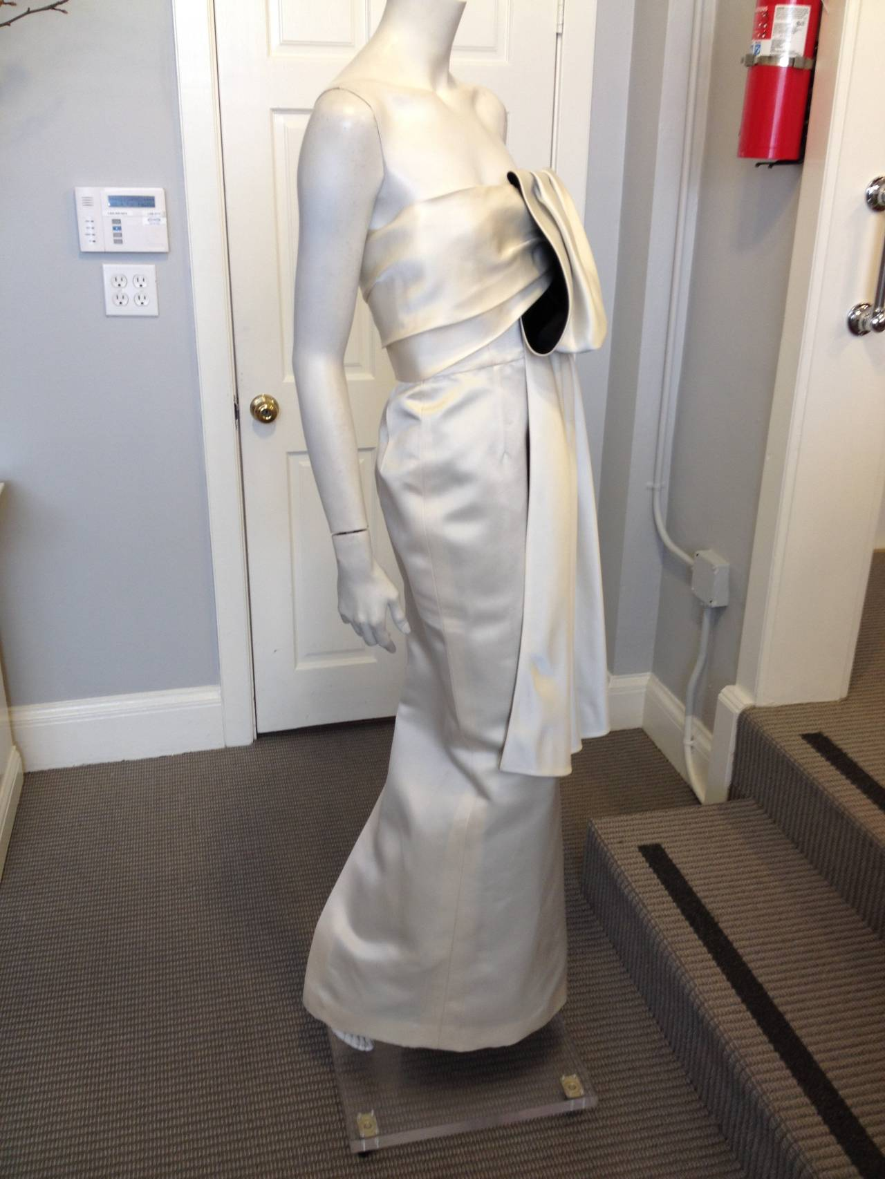 Prada Cream Satin Draping Demi-Couture Gown 7
