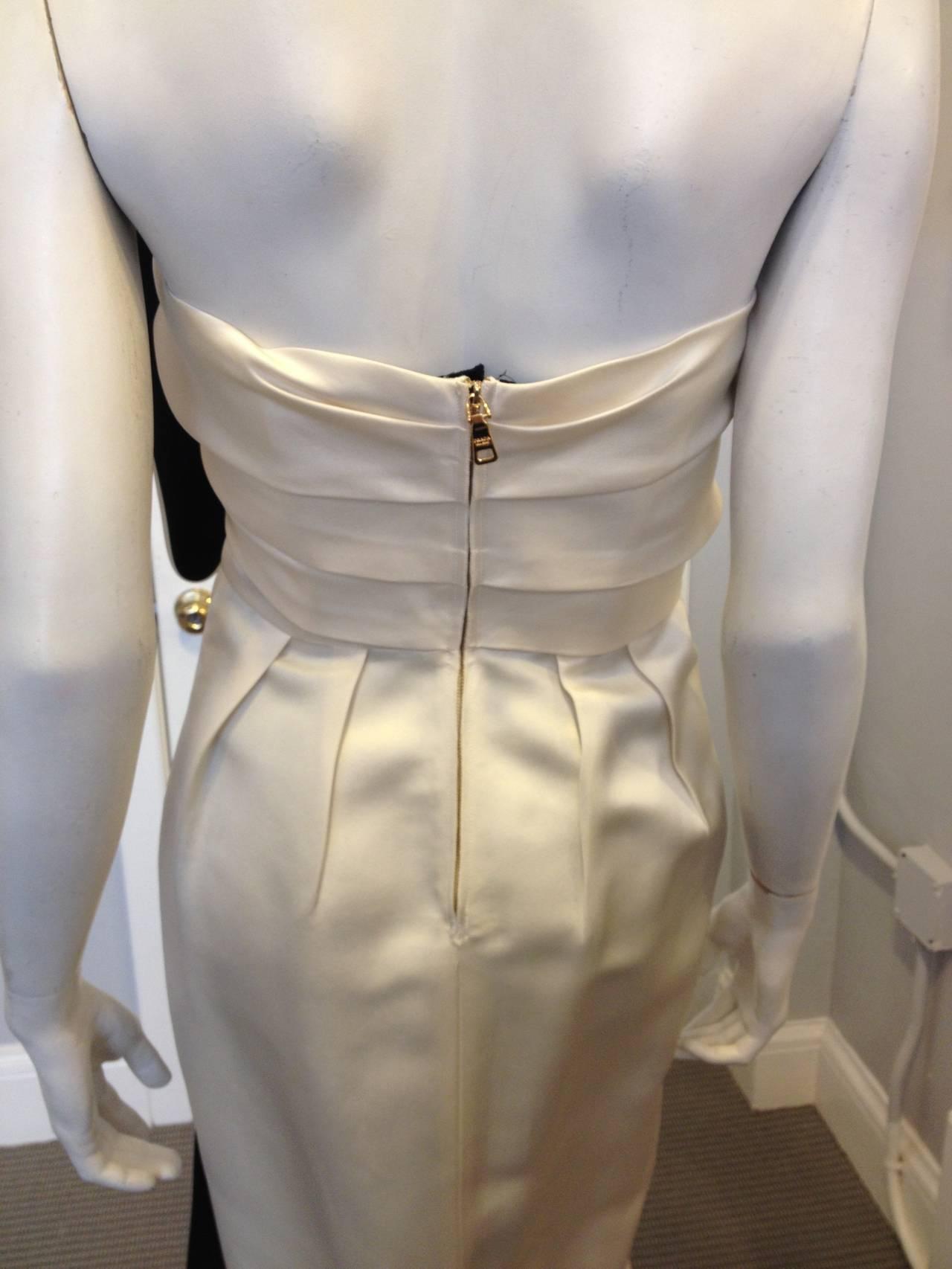 Prada Cream Satin Draping Demi-Couture Gown 4