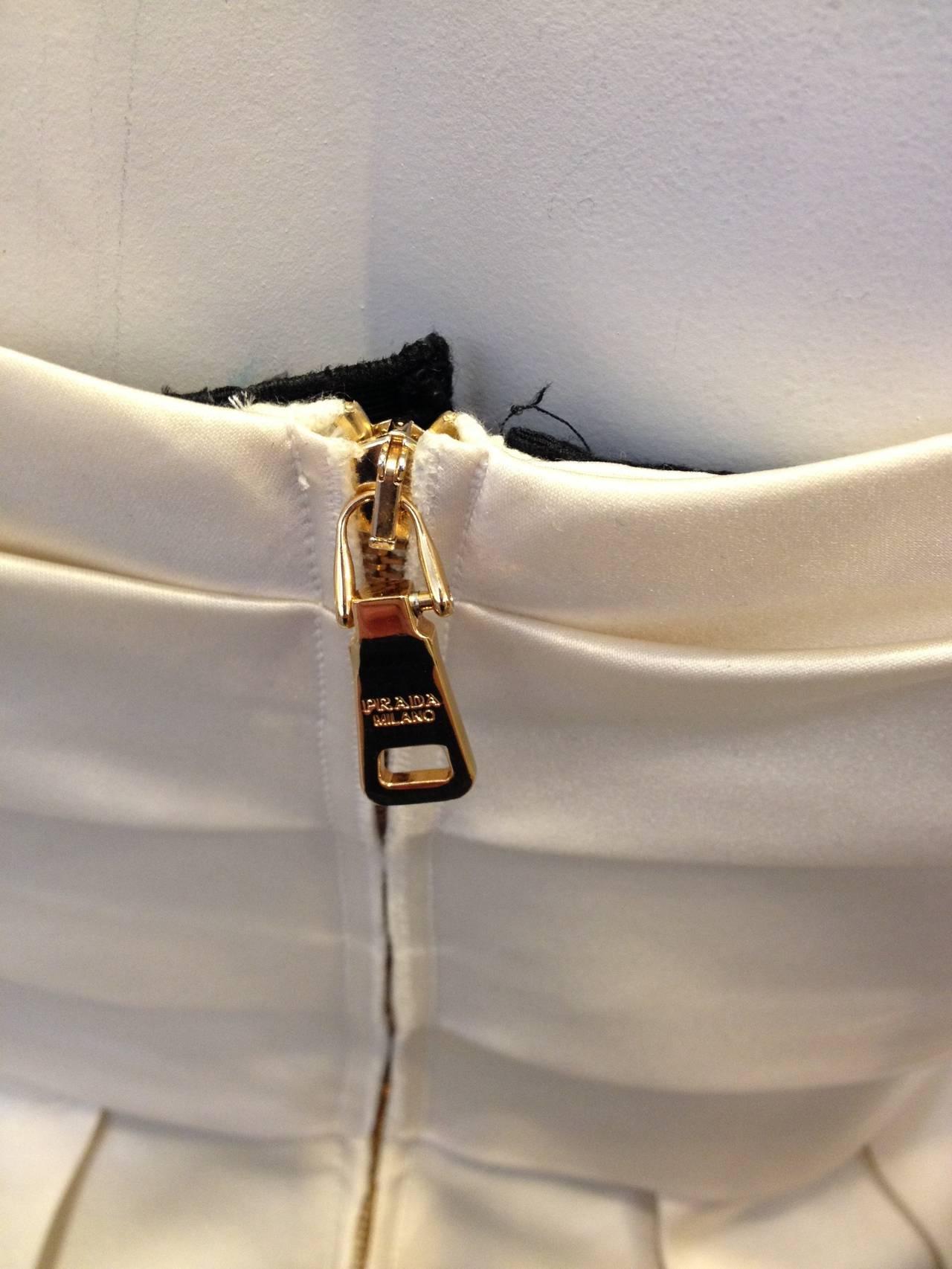 Prada Cream Satin Draping Demi-Couture Gown 6