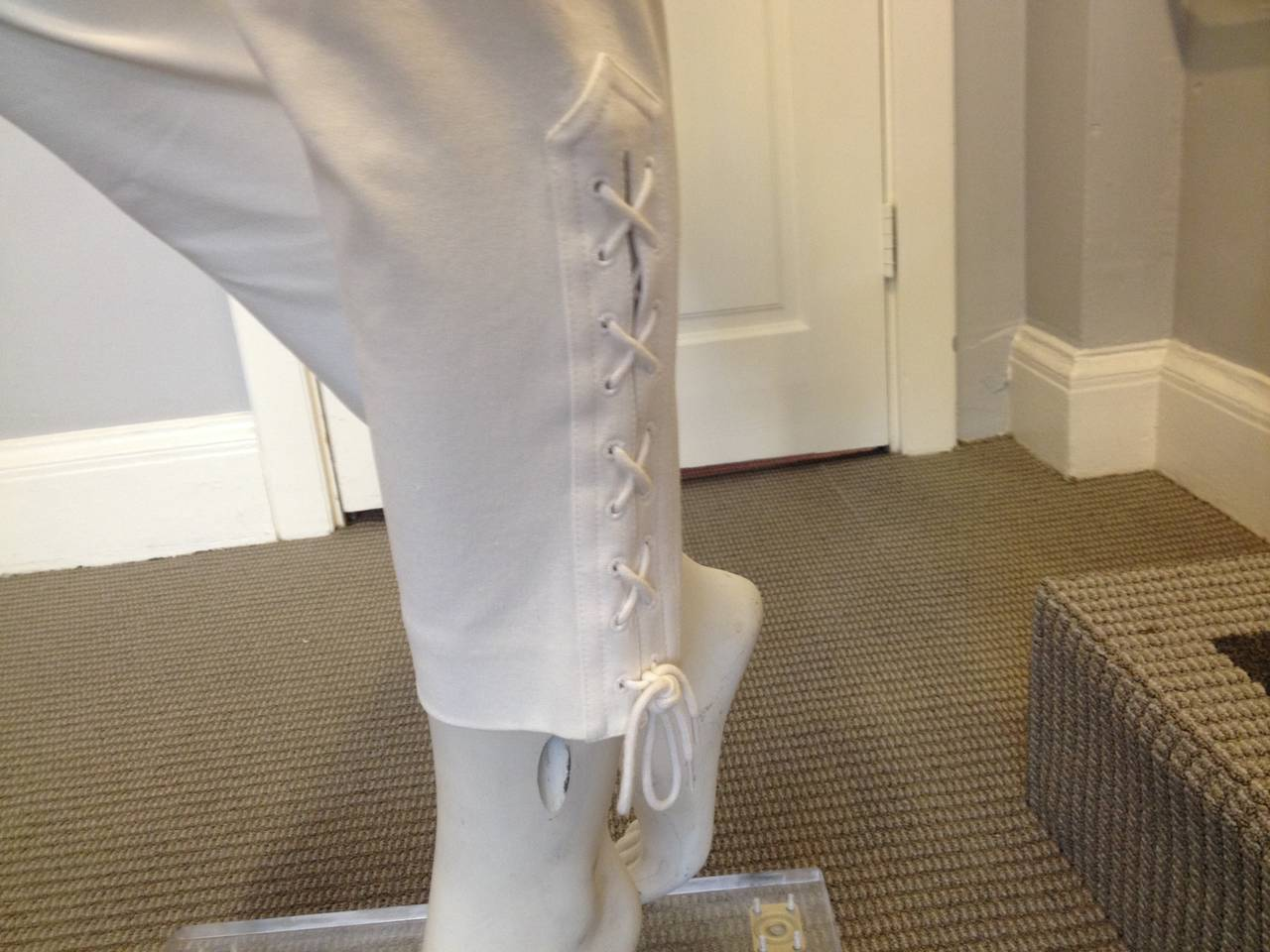 Chanel White Pant with Lace-up Cuff 4