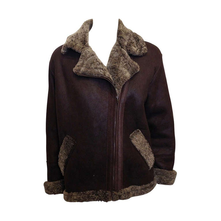 Revillon Dark Brown Leather Coat with Fur Lining For Sale
