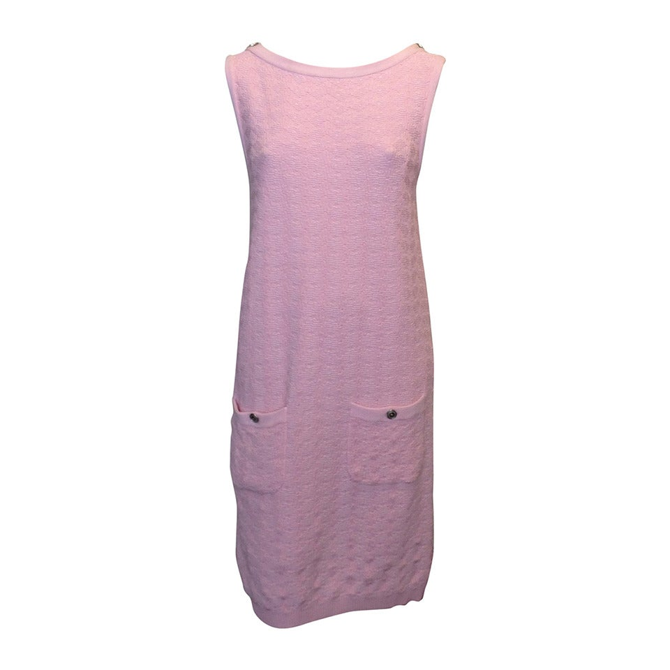 Chanel Pink Knit Sleeveless Dress 1