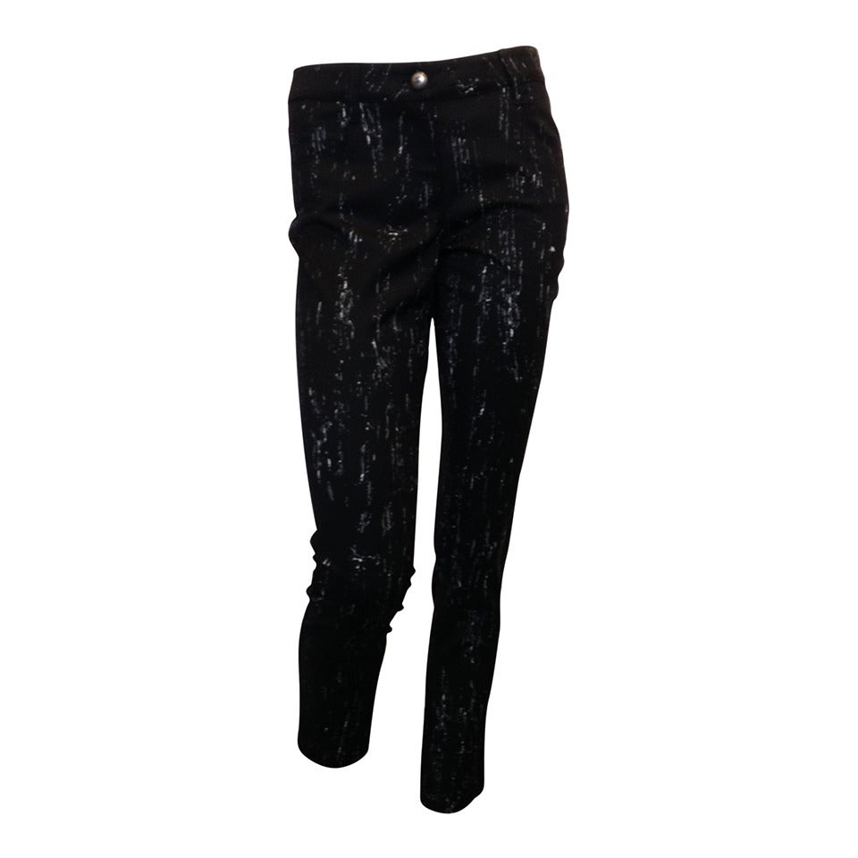 Chanel Black Pants with White Pattern For Sale