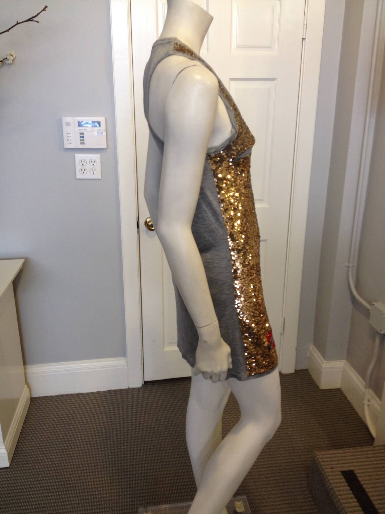 Roberto Cavalli Grey Jersey Dress with Gold Sequins at 1stdibs