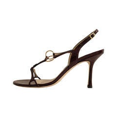 Jimmy Choo Brown Patent Strappy Sandals
