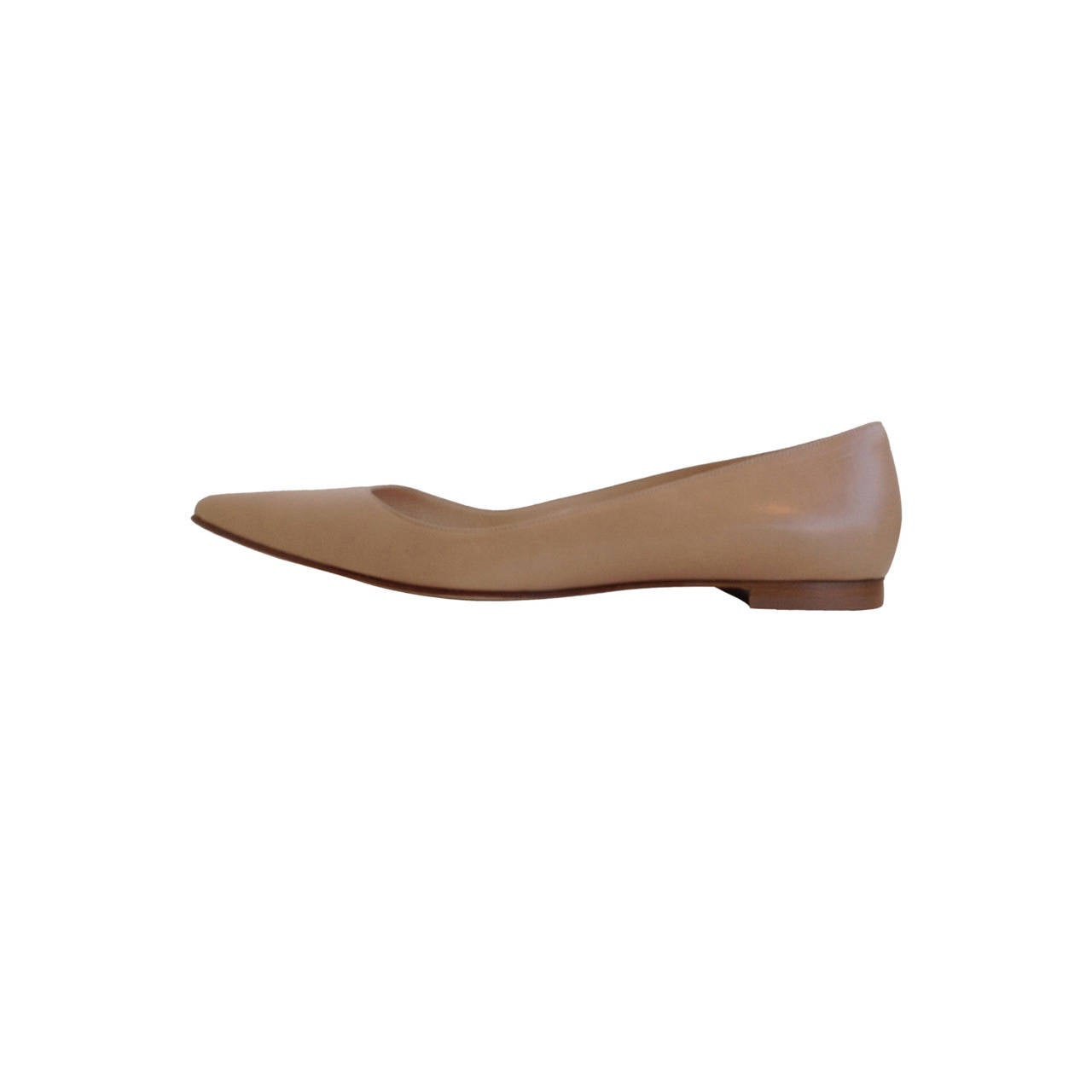 Manolo Blahnik Tan Leather Skimmers 1