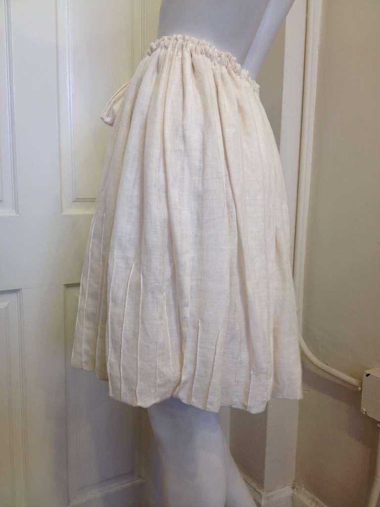 Yves Saint Laurent Cream Drawstring Skirt 2