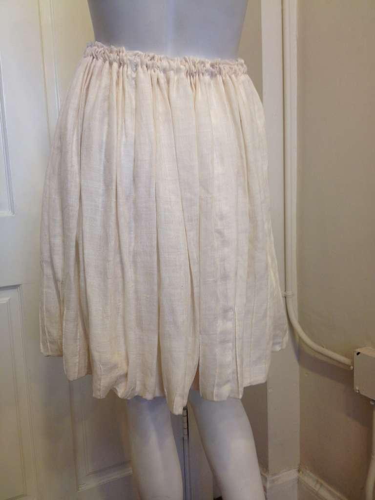 Yves Saint Laurent Cream Drawstring Skirt 3