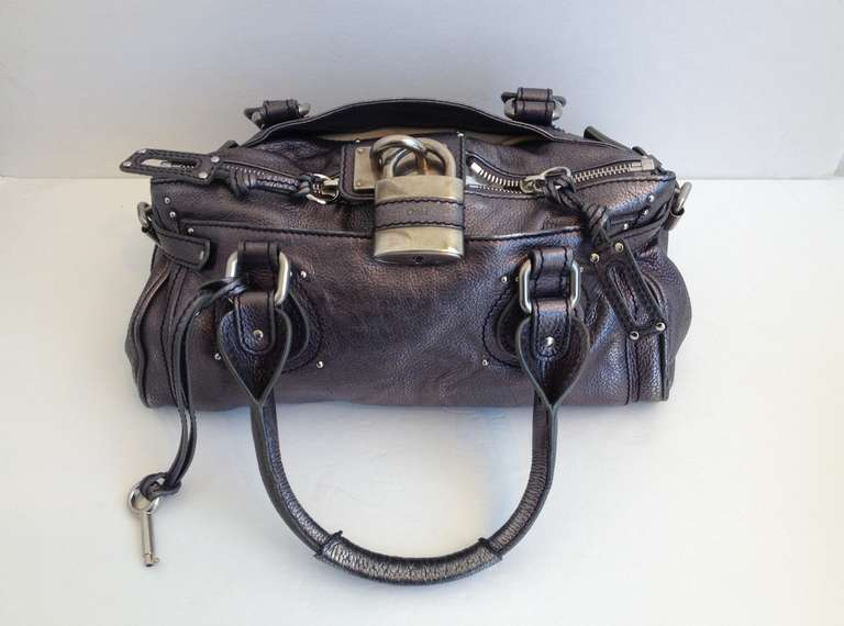 Chloe Metallic Silver Paddington Leather Satchel at 1stdibs