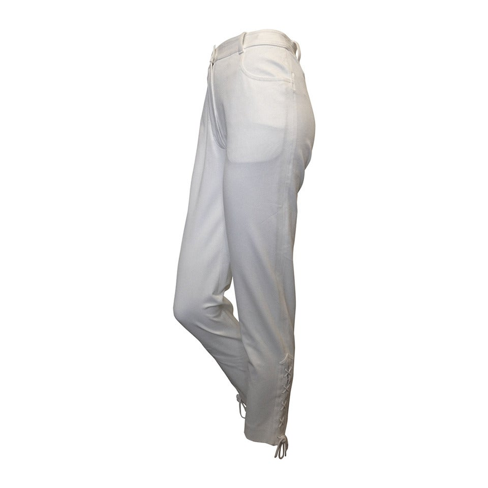 Chanel White Pant with Lace-up Cuff 1