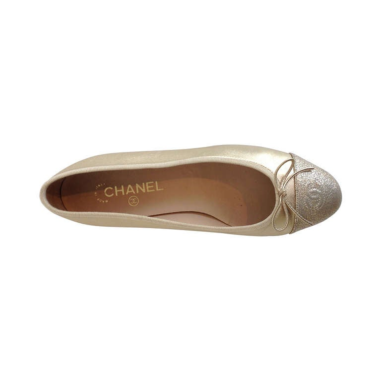 Chanel Gold Leather Ballet Flat At 1stdibs