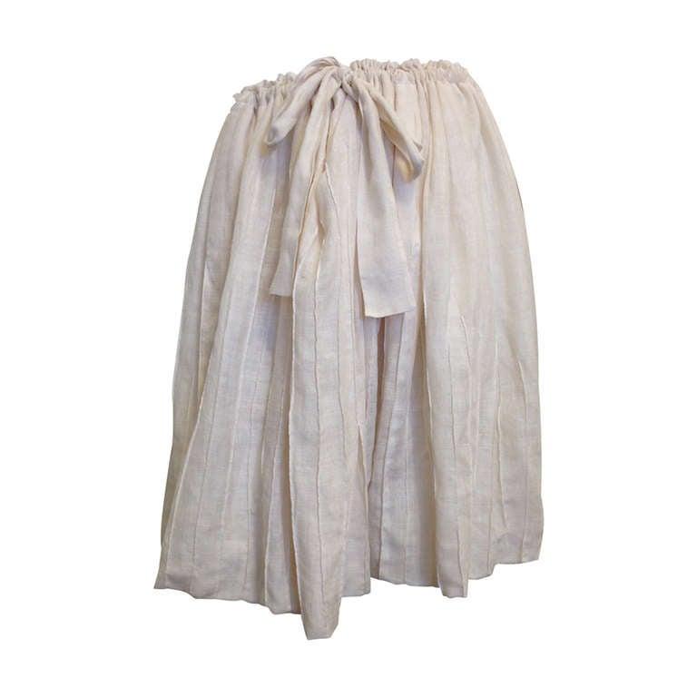 Yves Saint Laurent Cream Drawstring Skirt 1