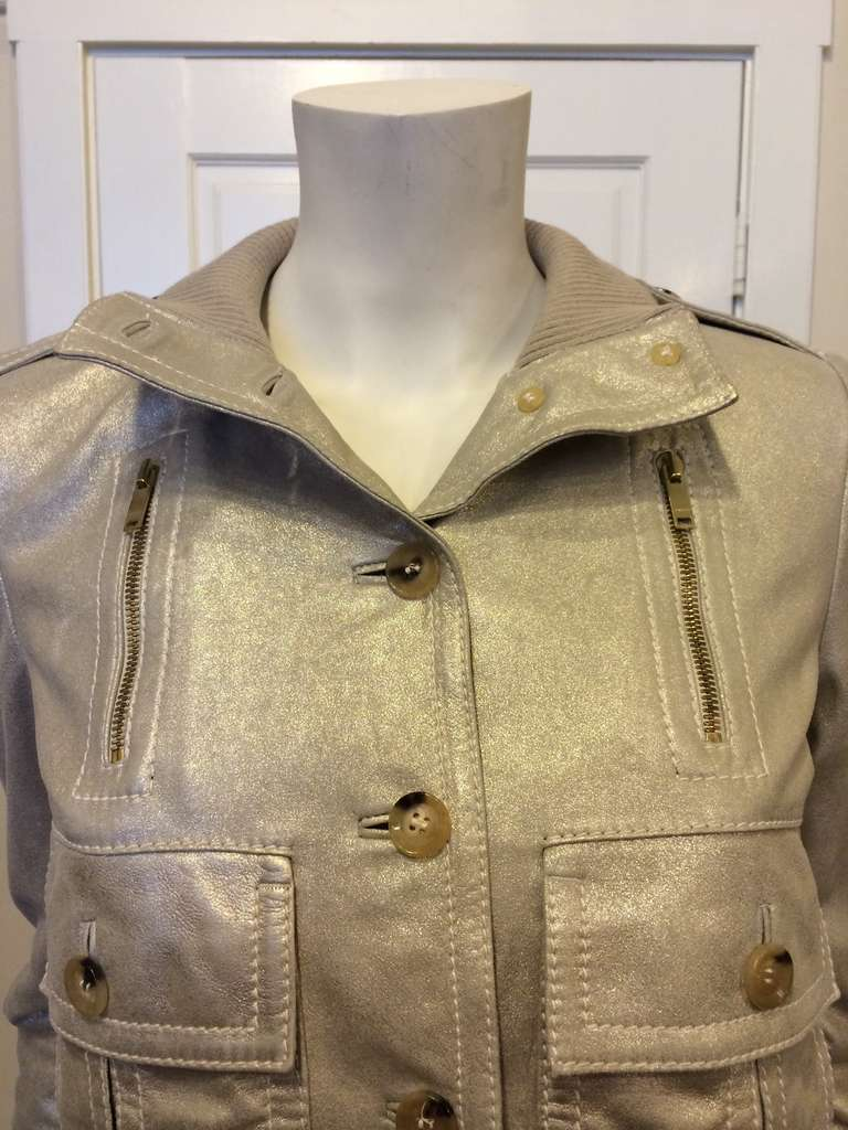 Gucci Gold Leather Jacket 2