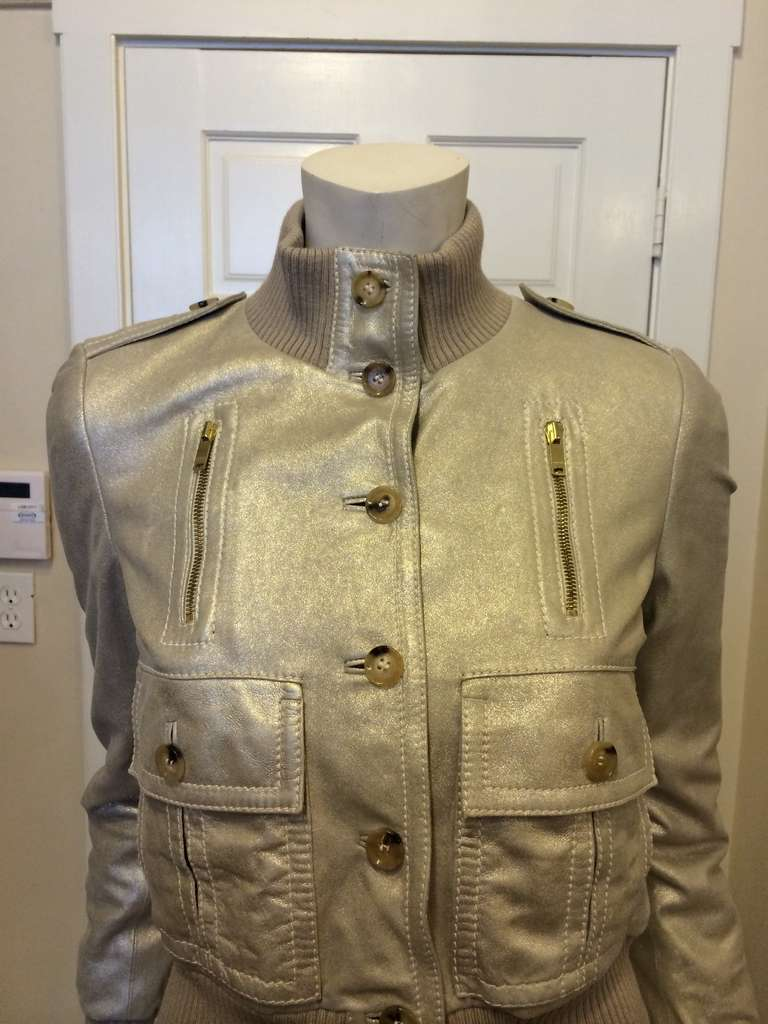 Gucci Gold Leather Jacket 3