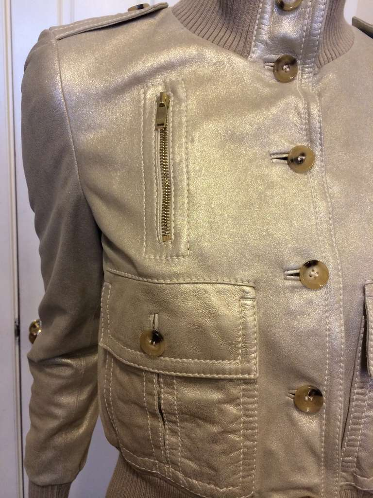 Gucci Gold Leather Jacket 4