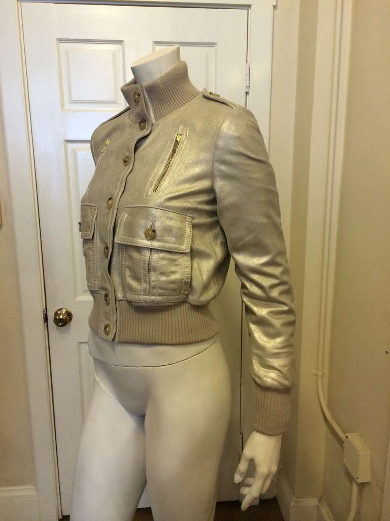 Gucci Gold Leather Jacket 7