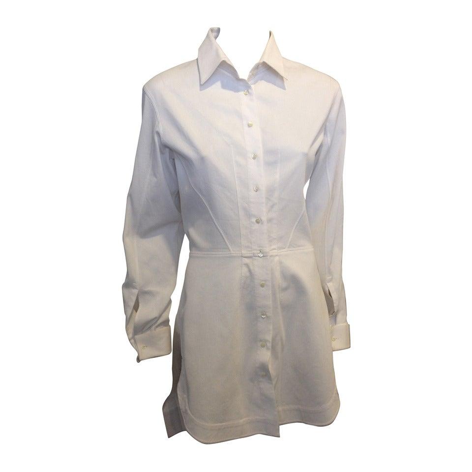 Alaia white button down shirt dress at 1stdibs for White button down dress shirt