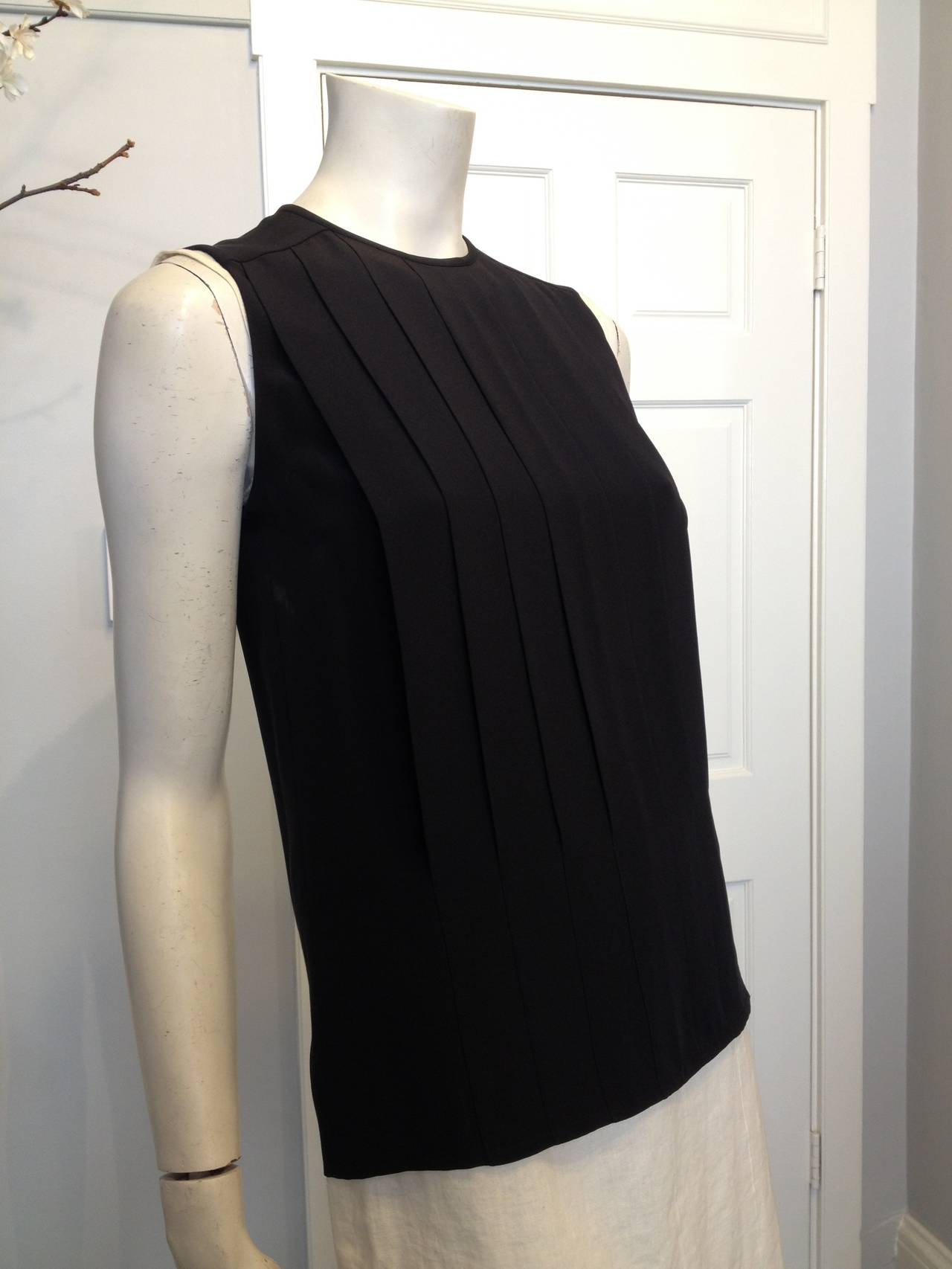 Chanel Black Silk Pleated Top 2