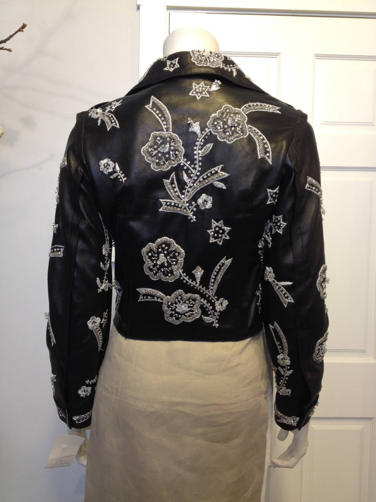 Dolce & Gabbana Black Leather Jacket with Silver Beading 3