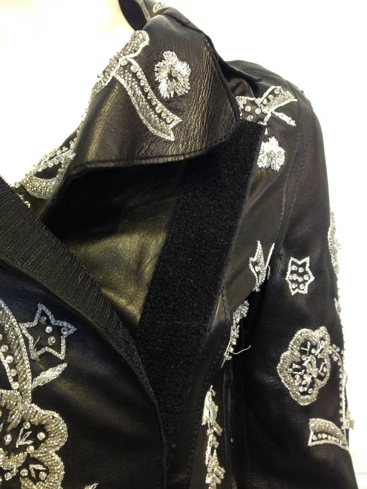 Dolce & Gabbana Black Leather Jacket with Silver Beading 5