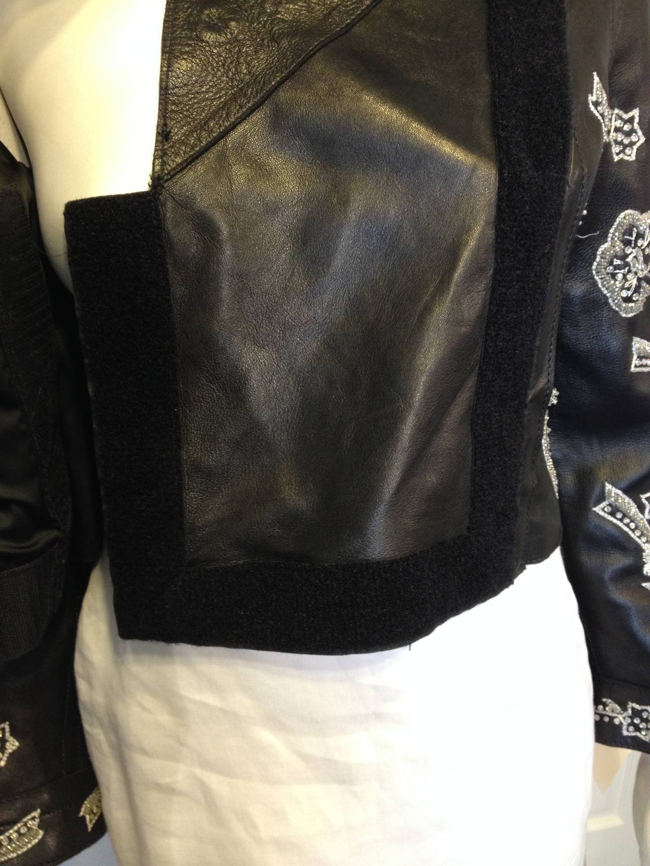 Dolce & Gabbana Black Leather Jacket with Silver Beading 7