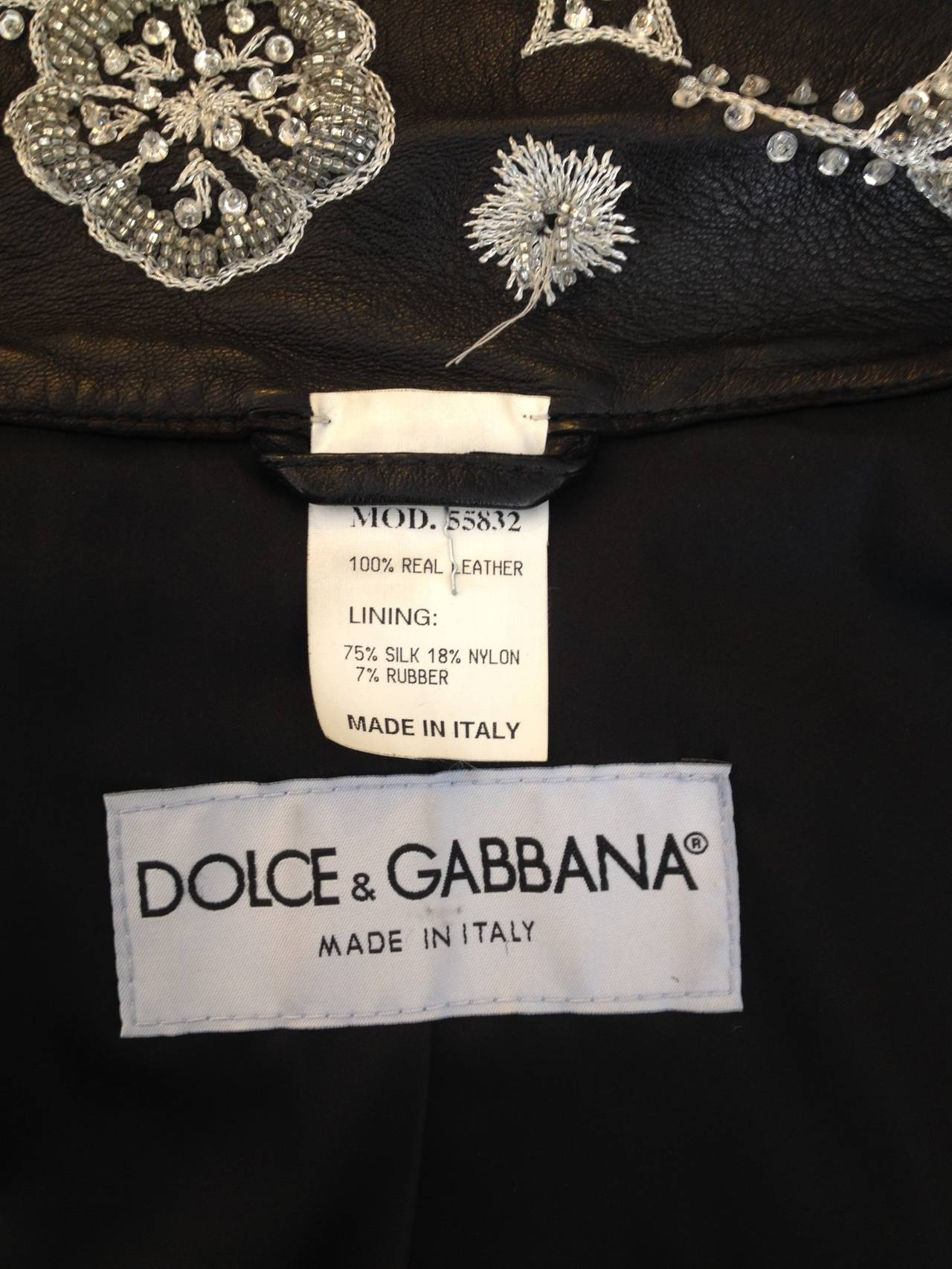 Dolce & Gabbana Black Leather Jacket with Silver Beading 8