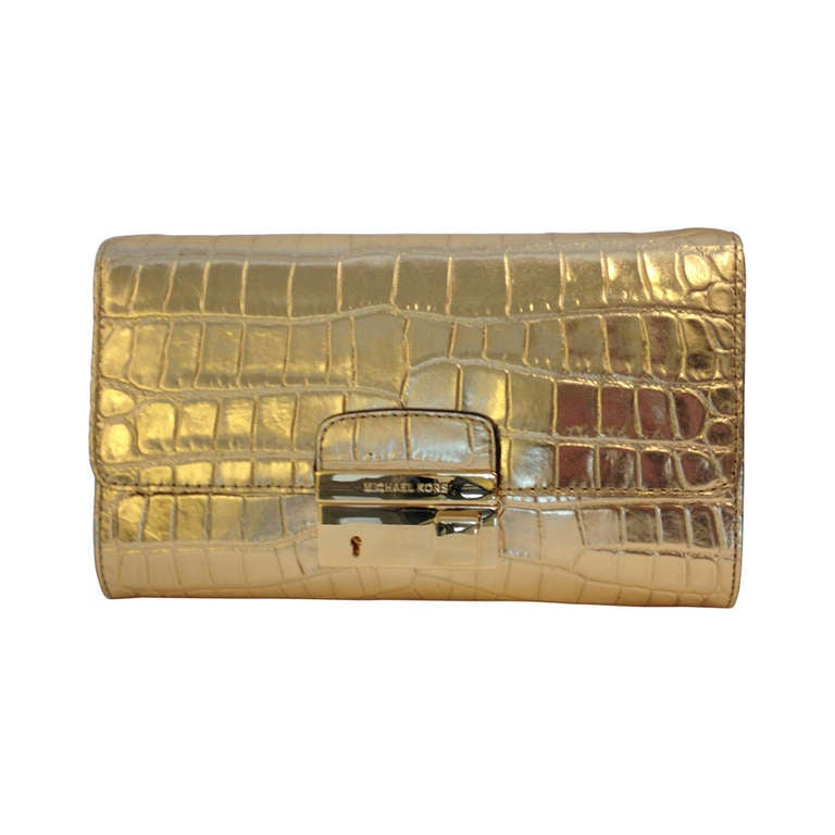 michael kors gold reptile embossed clutch at 1stdibs. Black Bedroom Furniture Sets. Home Design Ideas
