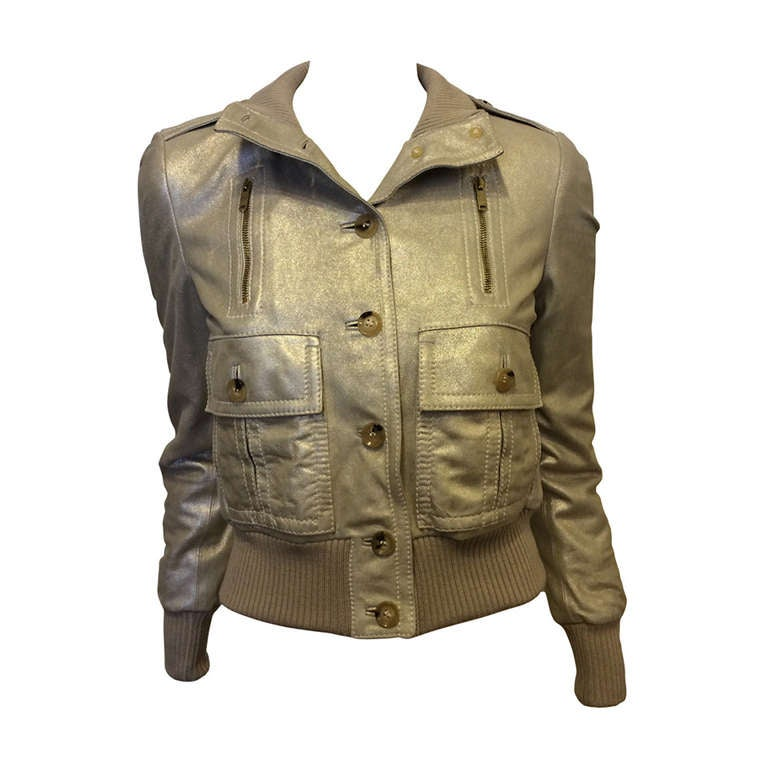 Gucci Gold Leather Jacket 1