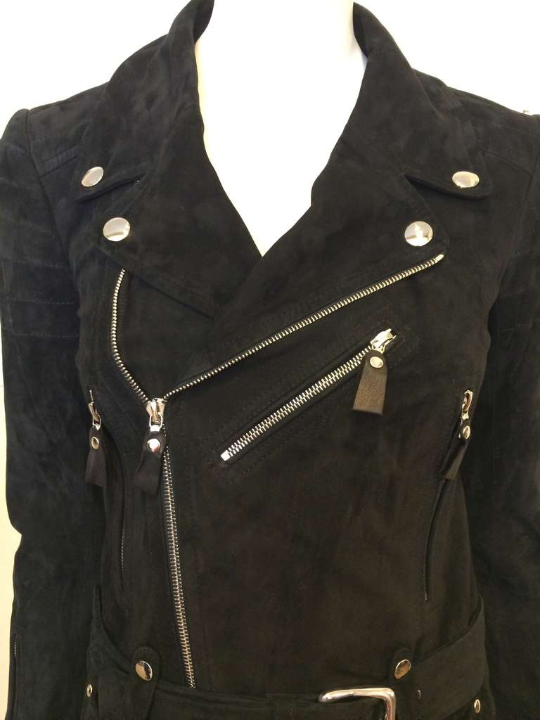Phi Black Leather Motorcycle Coat 2