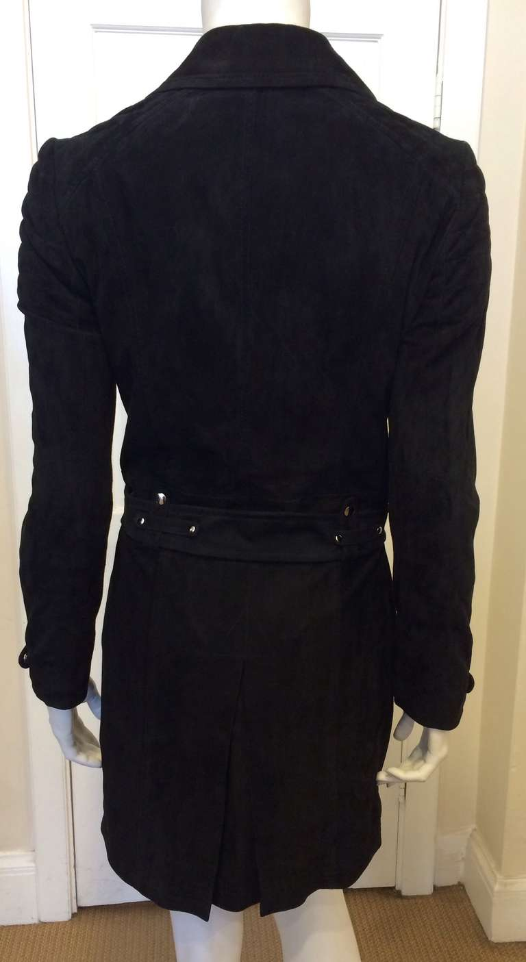 Phi Black Leather Motorcycle Coat 4