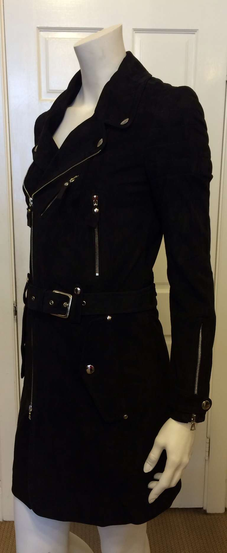 Phi Black Leather Motorcycle Coat 6