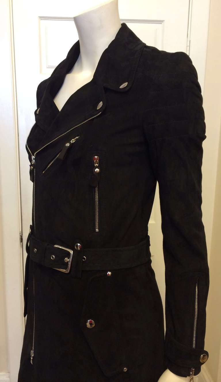 Phi Black Leather Motorcycle Coat 7