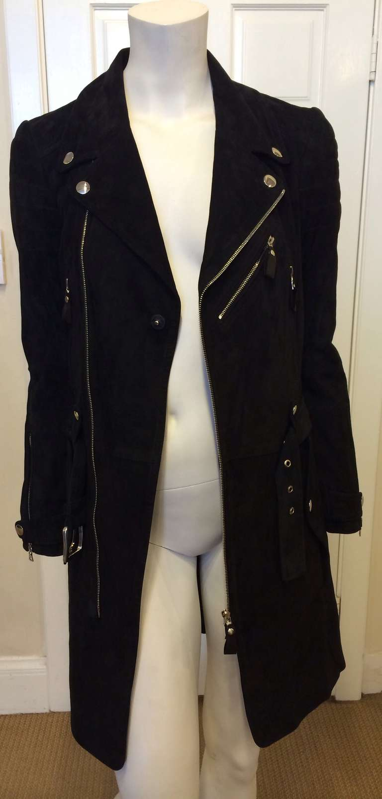 Phi Black Leather Motorcycle Coat 9