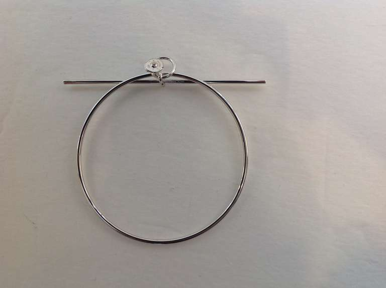Contemporary Hermes Silver Loop Tgm Earring For
