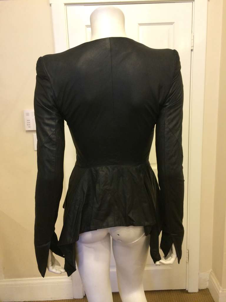 Women's Gareth Pugh Black Leather Jacket For Sale