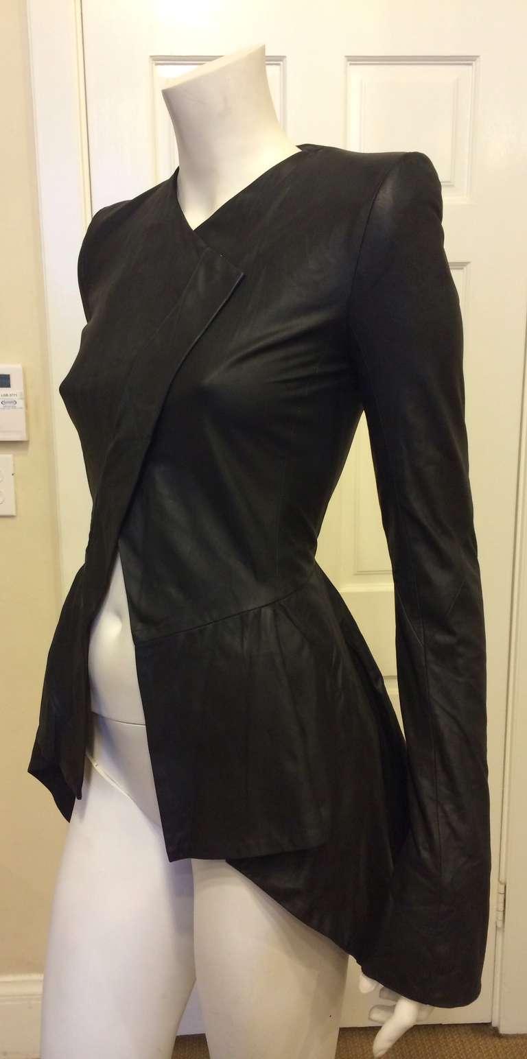 Gareth Pugh Black Leather Jacket For Sale 1