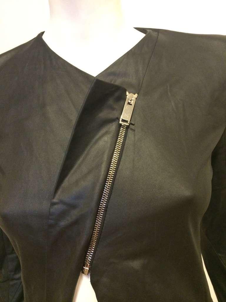 Gareth Pugh Black Leather Jacket For Sale 2