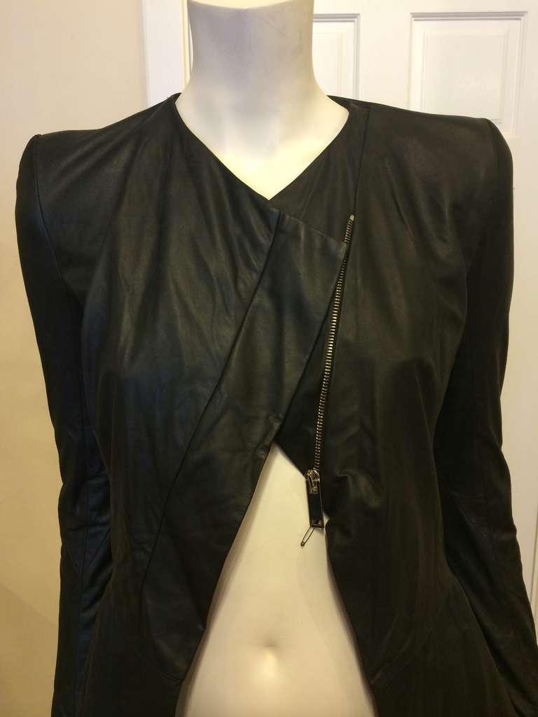 Gareth Pugh Black Leather Jacket For Sale 3