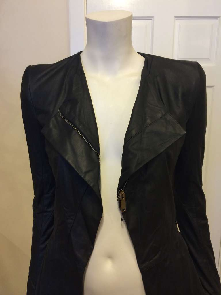 Gareth Pugh Black Leather Jacket For Sale 4