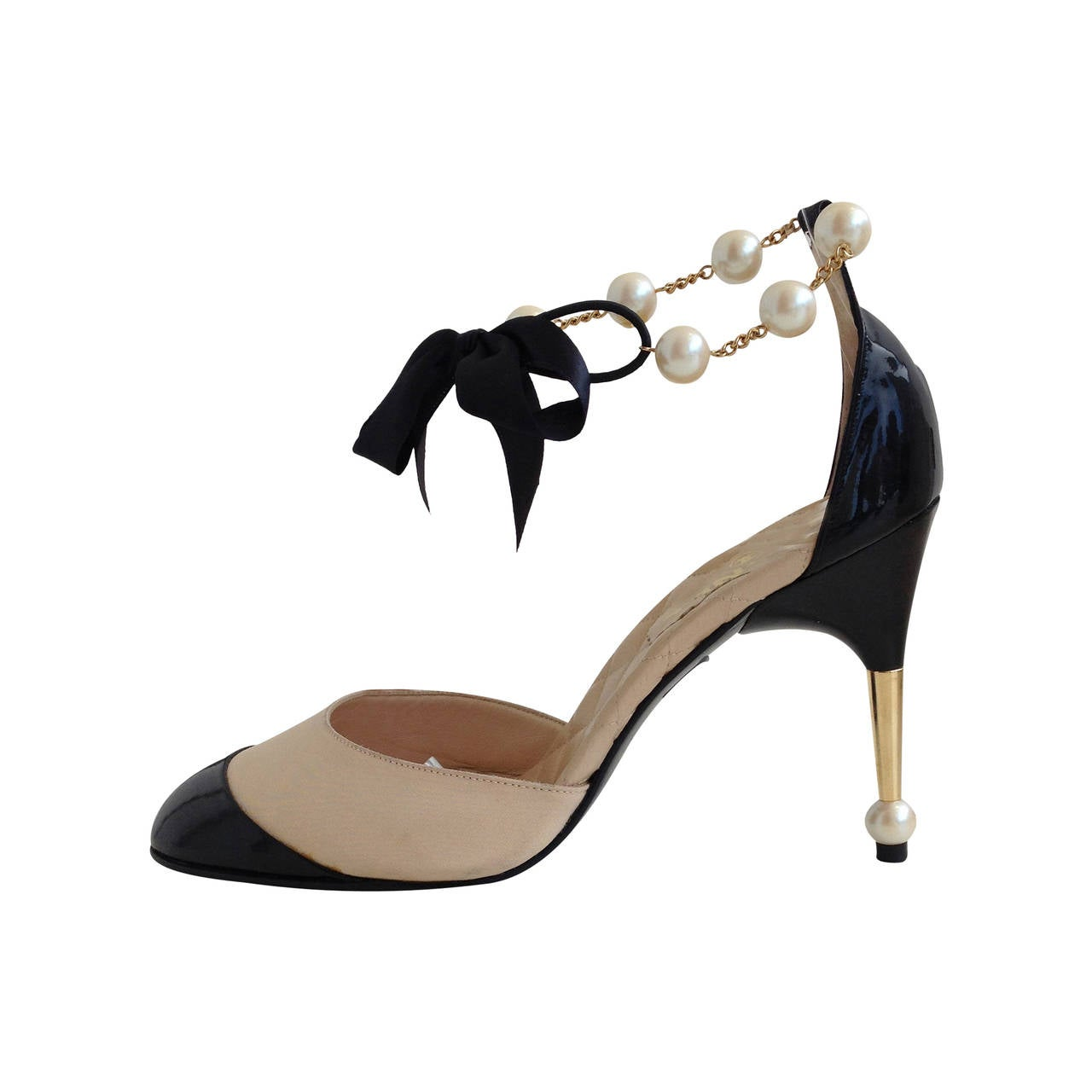 Chanel Cream Leather and Black Patent Heels with Pearl Ankle Strap ...