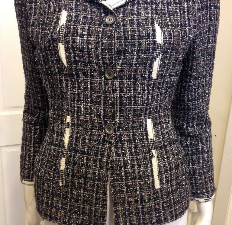 Chanel Navy and Brown Tweed Jacket 3