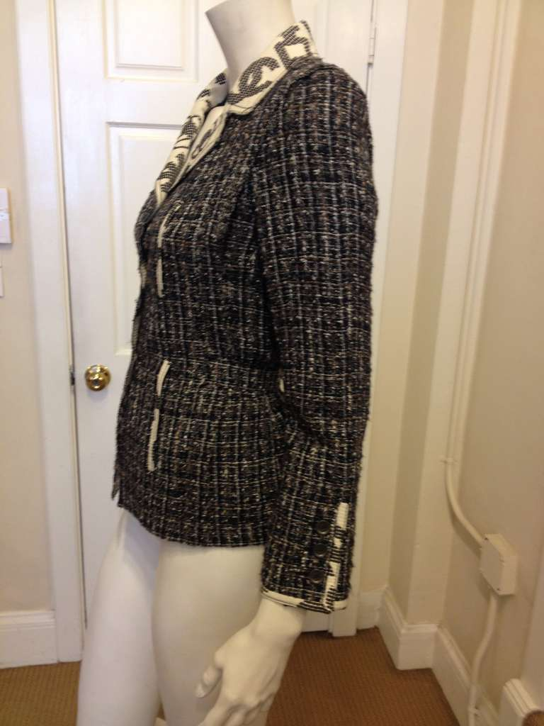 Chanel Navy and Brown Tweed Jacket 6