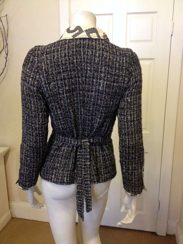 Chanel Navy and Brown Tweed Jacket 4