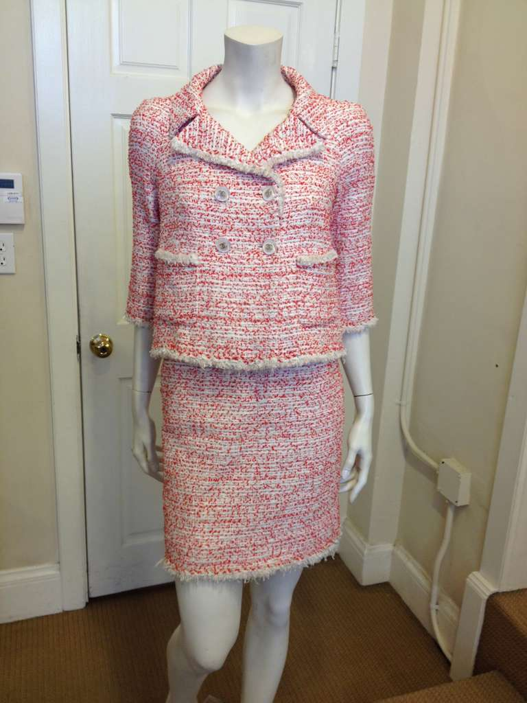 Chanel Red And White Tweed Skirt Suit At 1stdibs